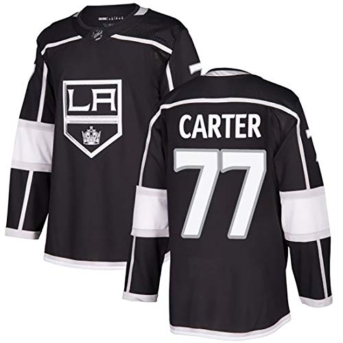 Unisex Fan Ice Hockey Jersey, King 11 Kopitar # 99 Gretzky # 77 Carter gestickte Top, 95% Baumwolle Material, weiche Textur, black77-M