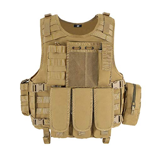 MGFLASHFORCE Tactical CS Field Vest, Airsoft Paintball Vest (Tan)