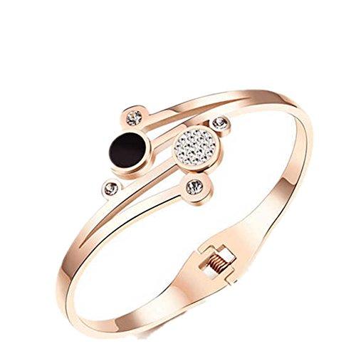 lalopez de las mujeres chapado en oro rosa de acero de titanio CZ Cuff pulsera