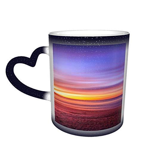 Sunset Purple Sky Beach Sand Shore Water Ocean Taza que cambia de color en el cielo Taza de cerámica Taza de café Regalo de cumpleaños de Navidad