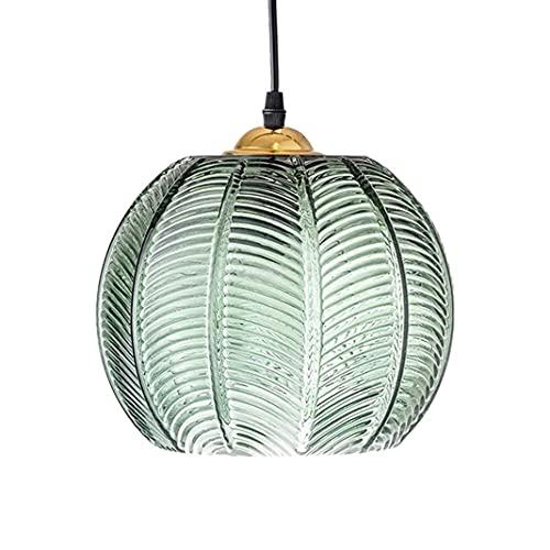 Lámpara colgante de vidrio retro E27 Vidrio verde vintage Decorar luces colgantes Pantalla de calabaza creativa Iluminación de techo Colgante de luz, para sala de estar Restaurante Bar (L)