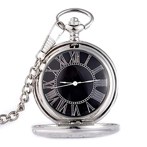 Reloj de bolsillo elegante clásico.Reloj de bolsillo para hombres con cadena, colgante de cuarzo de escala romana tallada con flip-cortada como un regalo retro para el día / cumpleaños / aniversario d