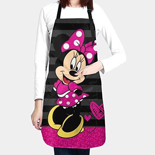 Pink Min-nie Mouse - Delantal unisex para cocina, color negro