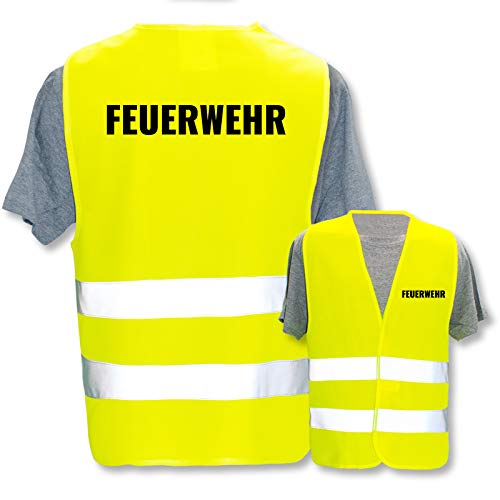 Bedruckte Marken-Warnwesten mit Leuchtstreifen * Standard- o. Reflex-Druck * Einsatzkräfte, Warnweste Begriffe Einsatzkräfte:Feuerwehr, Farbe + Größe:Gelb (XL/XXL)