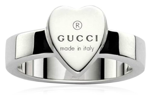 Gucci Anillo de mujer con corazón grabado, plata de ley, talla 55 YBC22386700155