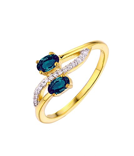 Designed by Ellen Natural Alexandrite Diamond Ring in 14k Yellow Gold
