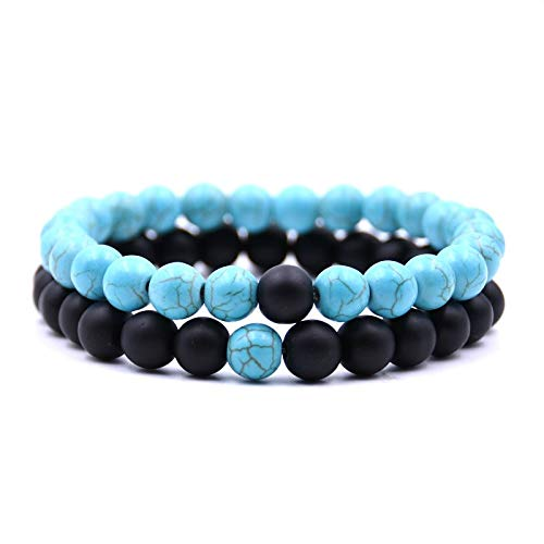 Usstore 2PCS Adults Unisex Natural Stone Bracelet Fashion 8mm Lava Rock Chakra Beads Elastic Frosted Agate String Gift (C, 7-7.5INCH)