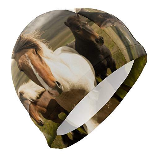 ALINLO Badekappe, süßes Tier, niedlich, lustig, Pferd, Pony, Fohlen, Badehaube, für Erwachsene, Männer, Frauen, Jugendliche, Mädchen Jungen