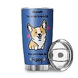 Zbbfwu Corgi - Taza de café para llevar con diseño de perro (acero inoxidable, 600 ml), color azul