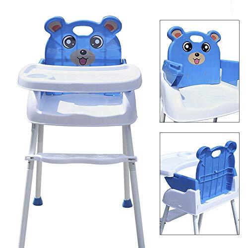 Baby Feeding Hochstuhl Rutschfeste 4 in 1 Tragbare Hochstühle mit Tablett Sicherheitsgurt für Baby von 6 Monaten bis 3 Jahren (blau)
