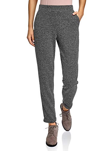 oodji Ultra Damen Hose mit Elastischem Bund und Aufschlägen, Grau, M