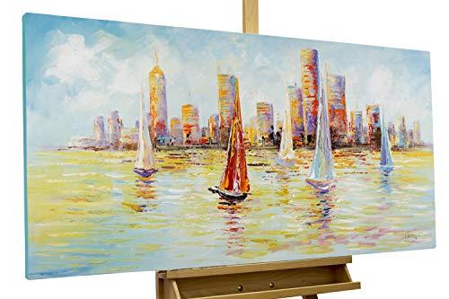 Kunstloft® Cuadro en acrílico 'Skyline Sailing' 120x60cm | Original Pintura XXL Pintado a Mano sobre Lienzo | Velero Barco de Vela navegar Nueva York Multicolor | Cuadro acrílico Moderno con Marco