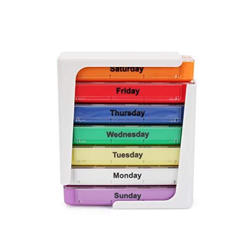 Ruiqas Weekly Pill Box, Weekly 7 Days 4 Times A Day Pills Box Stackable Vitamins Organizer