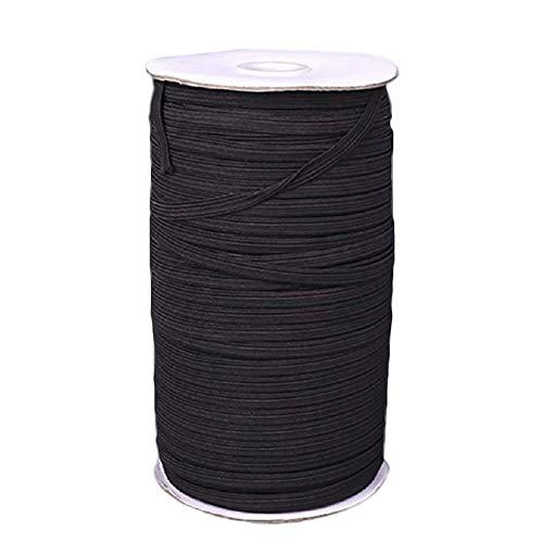 "ATool 70-Yard Black Elastic Band Spool for Sewing mask, 1/4"" Flat Braided Cord/Rope/Bungee/Heavy-Duty Stretchy Elastic roll Spool"