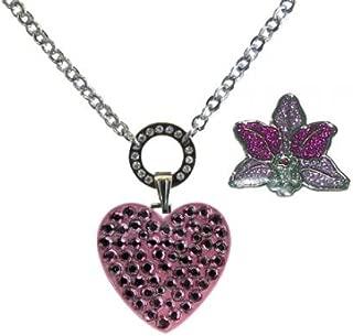 NAVIKA Swarovski Crystal Ball Marker & Necklace - Pink Heart & Orchid