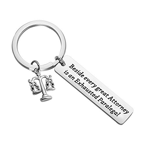 CENWA Scales of Justice Keychain Legal Assistant Gift Beside Every Great Attorney is an Exhausted Paralegal Legal Secretary Gift for Paralegal (Exhausted Paralegal K)