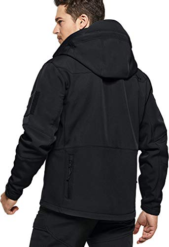 CQR Men's Winter Tactical Military Jackets, Lightweight Waterproof Fleece Lined Softshell Hunting Jacket with Hoodie, Operator Multipocket(hok803) - Black, M