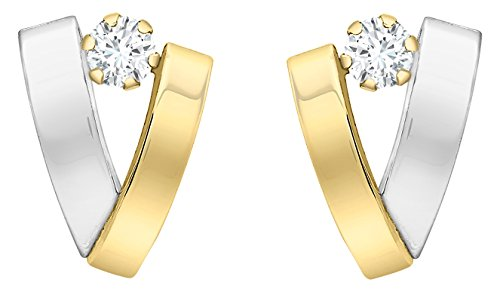 Carissima Gold Women's 9 ct Yellow and White Gold Cubic Zirconia Band V-Shaped Earrings