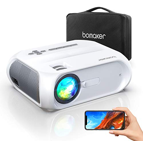 Bomaker Proiettore WiFi, Mini Videoproiettore Portatile 6500 Lm 720P Nativo con Display 300' per Home Cinema, Mirroring Schermo, per iPhone/Android/Laptop/Lettori DVD/Win10