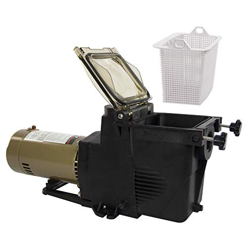 Rx Clear Ultimate Niagara 1 HP Pool Pump for Inground Swimming Pools | 48 Frame | 115/230 Volt | 15/7.5 Amps | Corrosion Proof | Large See-Through Strainer Cover