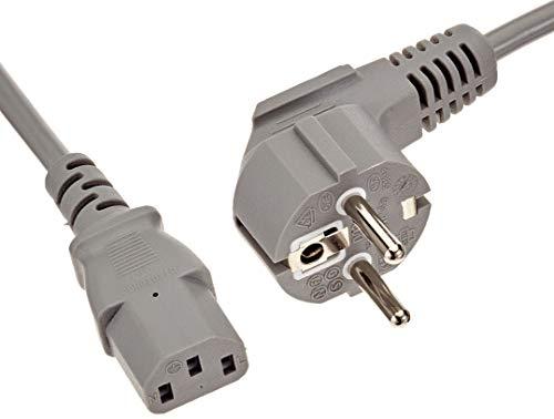PremiumCord Netzkabel 230V 2m, Stromkabel mit Schutzkontakt gewinkelt auf Kaltgerätebuchse C13, IEC 320, PC Netzkabel 3 Polig, Farbe grau