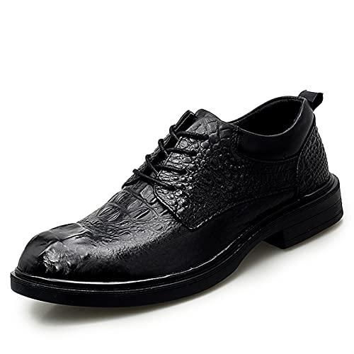 Zapatos casuales Zapatos de Oxford de los Hombres, Cocodrilo de Cuero de Negocios Grifo de encaje en relieve Talón de la bolsa de punta redonda, Color Sólido Pedido a mano Zapatos de vestir de alto tu