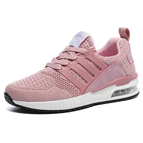 JUXINCHI Herren Damen Sneakers Bequeme Atmungsaktiv Laufschuhe Schnürer Air Profilsohle Sportschuhe Luftpolster Turnschuhe Fitness Leichte,Rosa,39 EU (Etikette 40)