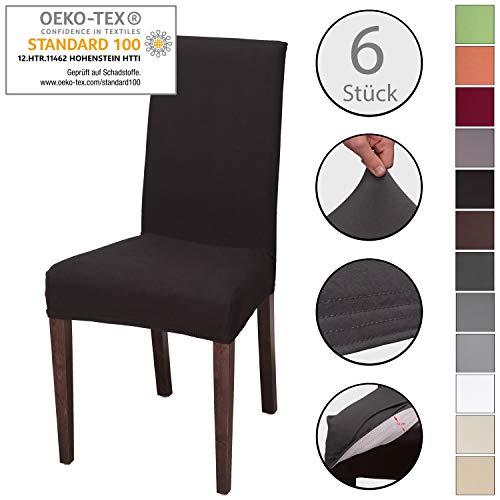 Staboos Stuhlhussen 6er Set aus 96% Baumwolle - Bi-elastische Stretch Stuhlüberzüge - Universal Stuhlbezug - Stuhlabdeckung waschbar & bügelfrei, Schwarz