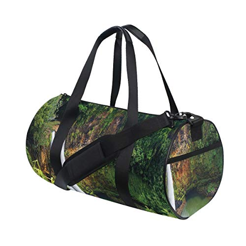 HARXISE Bolsa de Viaje,Paisaje Cascadas Gemelas Hawai Imprimir,Bolsa de Deporte con Compartimento para Sports Gym Bag