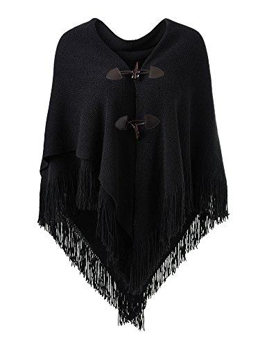 Ferand Poncho-Schal in lässiger Passform mit stylischen Hornknöpfen, V-Ausschnitt und V-Saum für Frauen, Schwarz