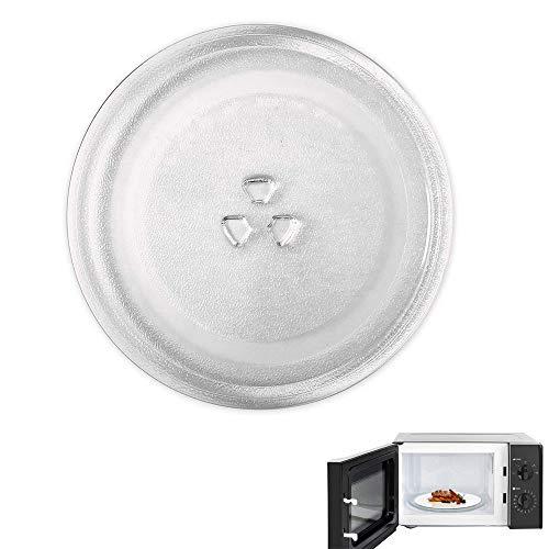 Plato de Cristal para Microondas, Plato Giratorio para Microondas, Universal Fuerte Durable Vaso Plato para Microondas con 3 Fijadores para Horno Microondas Pequeño y Mediano (245 MM)
