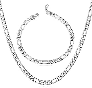 Men' s Necklace Bracelet Jewelry Kit- 925 Silver Chain Necklace Bracelet Jewelry Set Perfect Gift for Men and Women (Silver)
