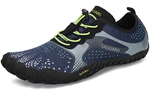 SAGUARO Hombre Mujer Zapatillas Barefoot Minimalistas Calzado de Training Ligeras Cómodas para Caminar Senderismo Ciclismo Trail Running Trekking Playa Agua Exterior Interior, Azul Celeste, 44
