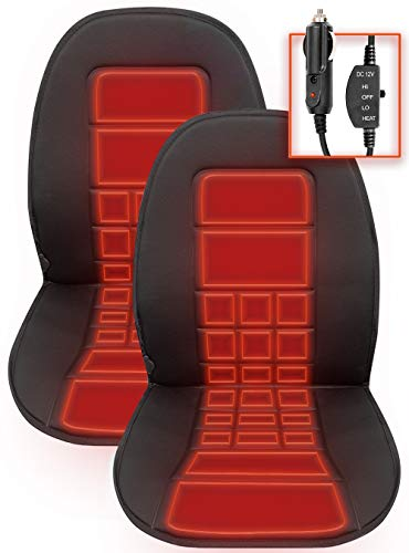carXS Heated Seat Cover for Cars – Universal 12V Heated Car Seat Cushion with Dual Temperature...