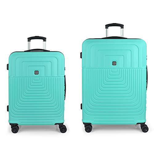Gabol – Ego | Set of Rigid Travel Suitcases with Medium Trolley and Large Trolley in Turquoise