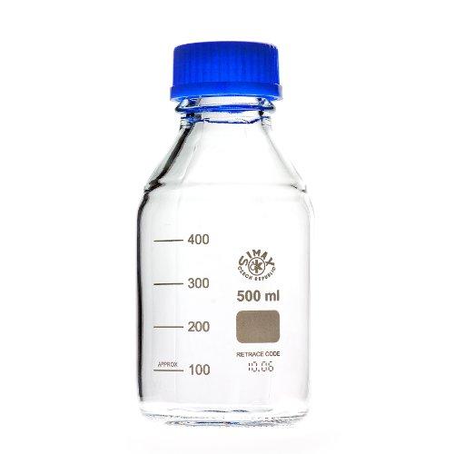 Laborgewindeflaschen mit blauer Kappe und Ring 500 ml, aus Borosilikatglas, blauer Ausgießring, Gewindeflasche, Glasflasche