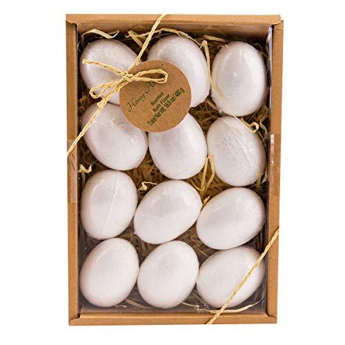 Badebomben Set von Accentra 12 lustige Eier Badebomben verpackt in einem schönen Geschenkkarton - Duft: Honey-Almond - 40 Gramm je Badebombe für ein entspannendes Sprudel-bad