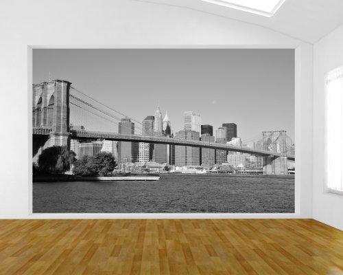 Bilderdepot24 Papier Peint intissé - Pont New York - Noir et Blanc - 155x100 cm - pâte Inclus - Vente directe Fabricant!