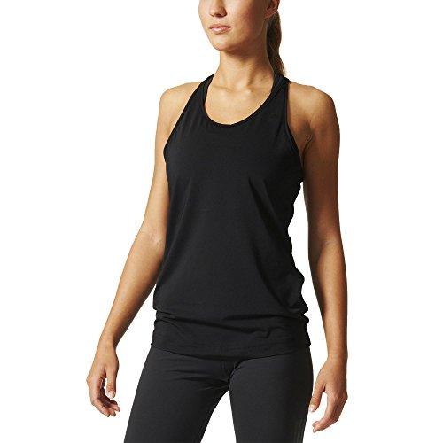 adidas Basic Solid Tan - Camiseta para Mujer, Color Negro, Talla M