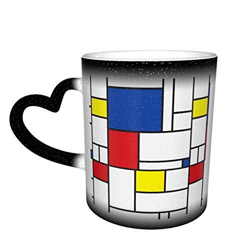 Taza de café cambiante mágica, Mondrian Minimalist De Stijl Arte Moderno Personalizado DIY Impresión cerámica Caliente Sensible al Calor Taza para Regalo Presente Té Café