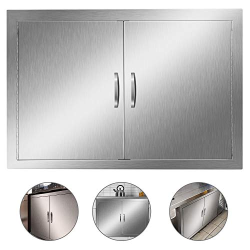Outdoor Kitchen Door, Heavy Duty BBQ Access Door, 30.5''W x 21''H Flush Mount Stainless Steel Double BBQ Island Door, for Outdoor Kitchen, BBQ Island & Grilling Station,Double Door ((30.5W x 21H))