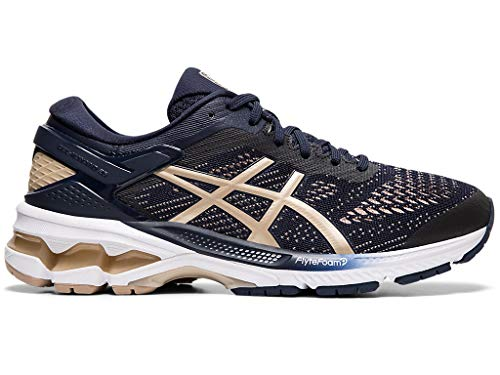 ASICS Women's Gel-Kayano 26 (D) Running Shoes, 7.5W, Midnight/Frosted Almond