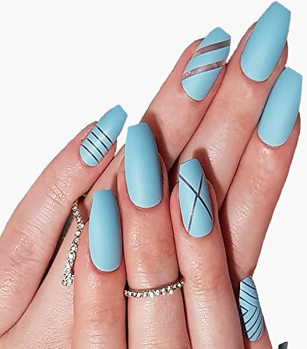 My Empress Press On Nails. Salon Acrylic Nail Kit-24 Pcs Nail Tips Coffin Ballerina Fake Nails Tips-Press On Nails For Women In Just Minutes-Full Cover Nail Art Tip Set With Nail Glue Tabs'Blue Bell'