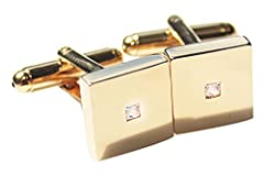 Stylish GIFTBOX Included UK Guarantee: 3µ / 10 years. Gold Filled 18Kt Square Cufflinks Princess Cut LAB Created Diamond Outstanding Quality