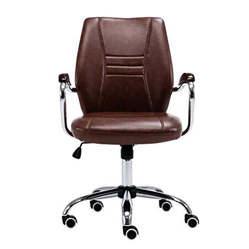 N&O Executive Recline Chairs Büro Kunstleder Ergonomischer Executive Schreibtischstuhl Brauner Drehbarer Chromfuß Höhenverstellbarer gepolsterter Bürostuhl