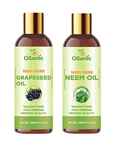 Oilanic 100% Pure & Natural Grapeseed Oil & Neem Oil Combo pack of 2 bottles of 100 ml(200 ml)