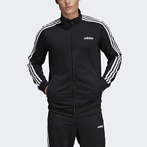 adidas Essentials Men's 3-Stripes Tricot Track Jacket, Medium, Black/White/White