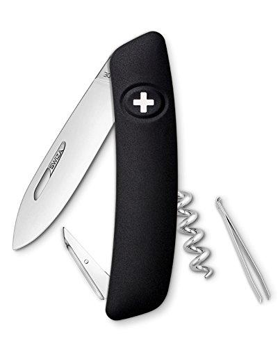 Swiza D01 Couteau suisse, verrouillage de la lame, poignée anti-dérapante - Noir