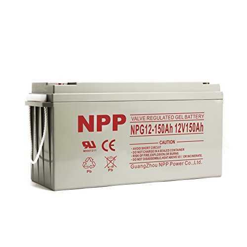 NPP NPG12-150Ah 12V 150Ah Gel Deep Cycle Rechargeable Battery with Button Style Terminals