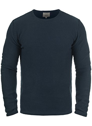 Redefined Rebel Mace Herren Strickpullover Feinstrick Pullover Mit Rundhals Aus 100% Baumwolle, Größe:L, Farbe:Navy